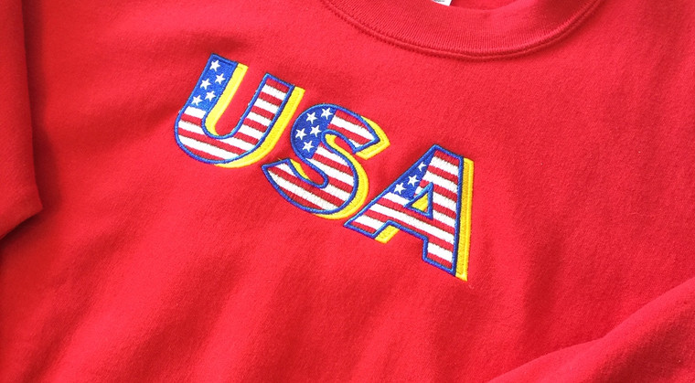 """Custom embroidered """"USA"""" with stars and stripes ."""