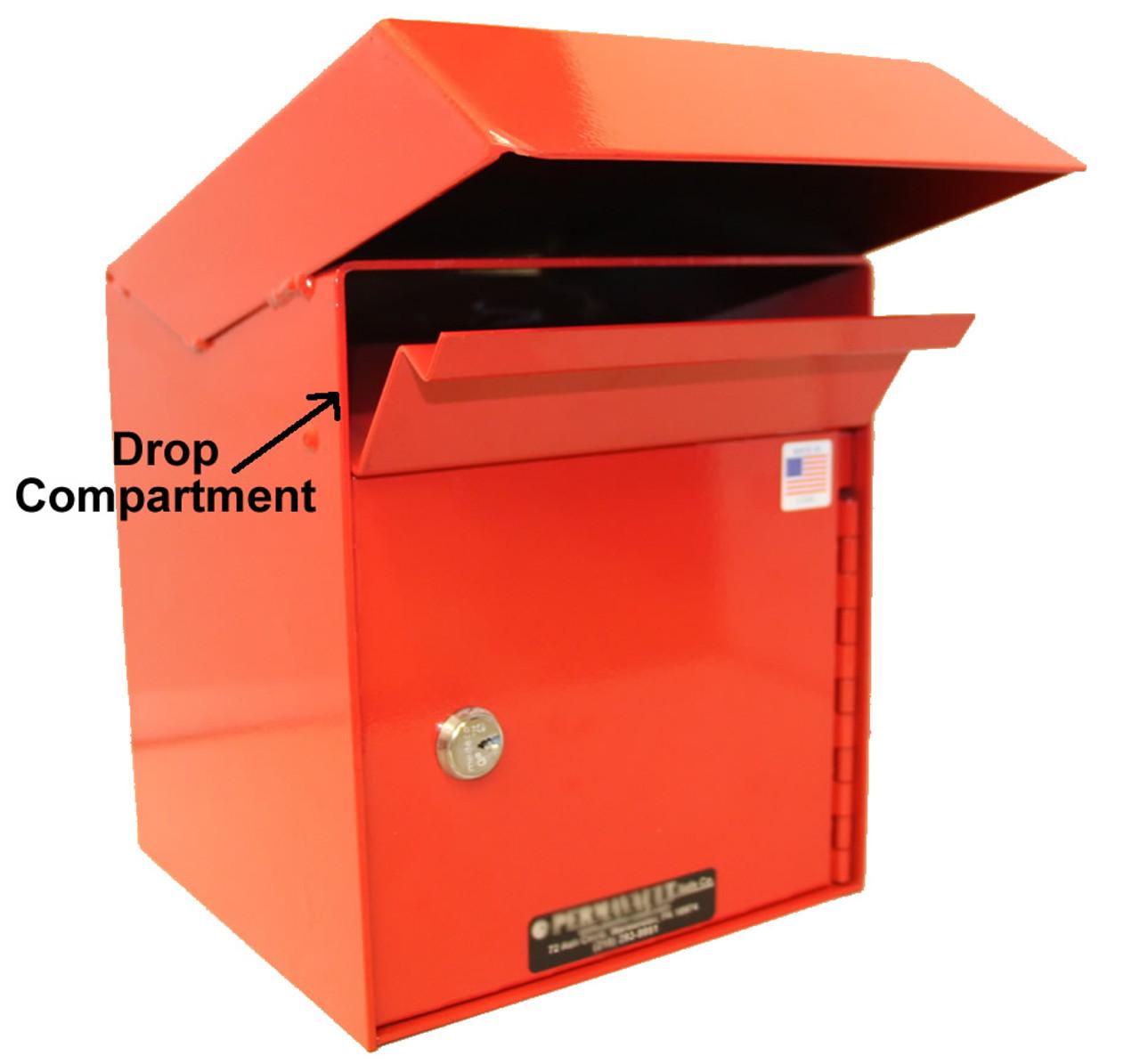 Outdoor Secure Payment Locking Drop Box shown with drop door open