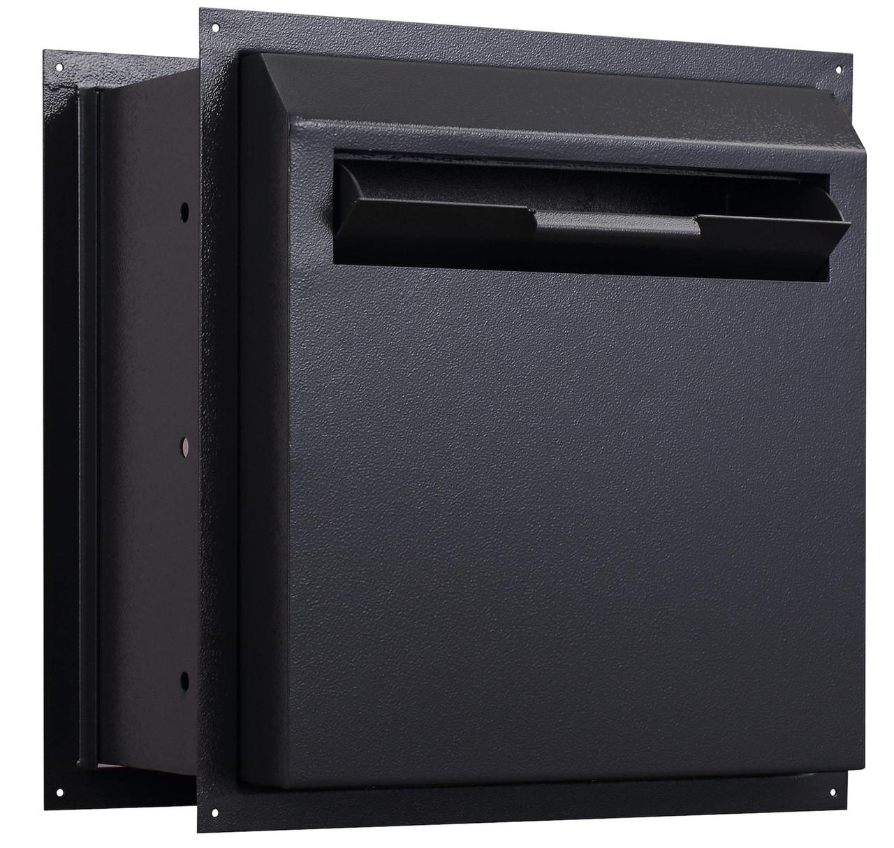 Through the Wall Drop Box black with drop door open