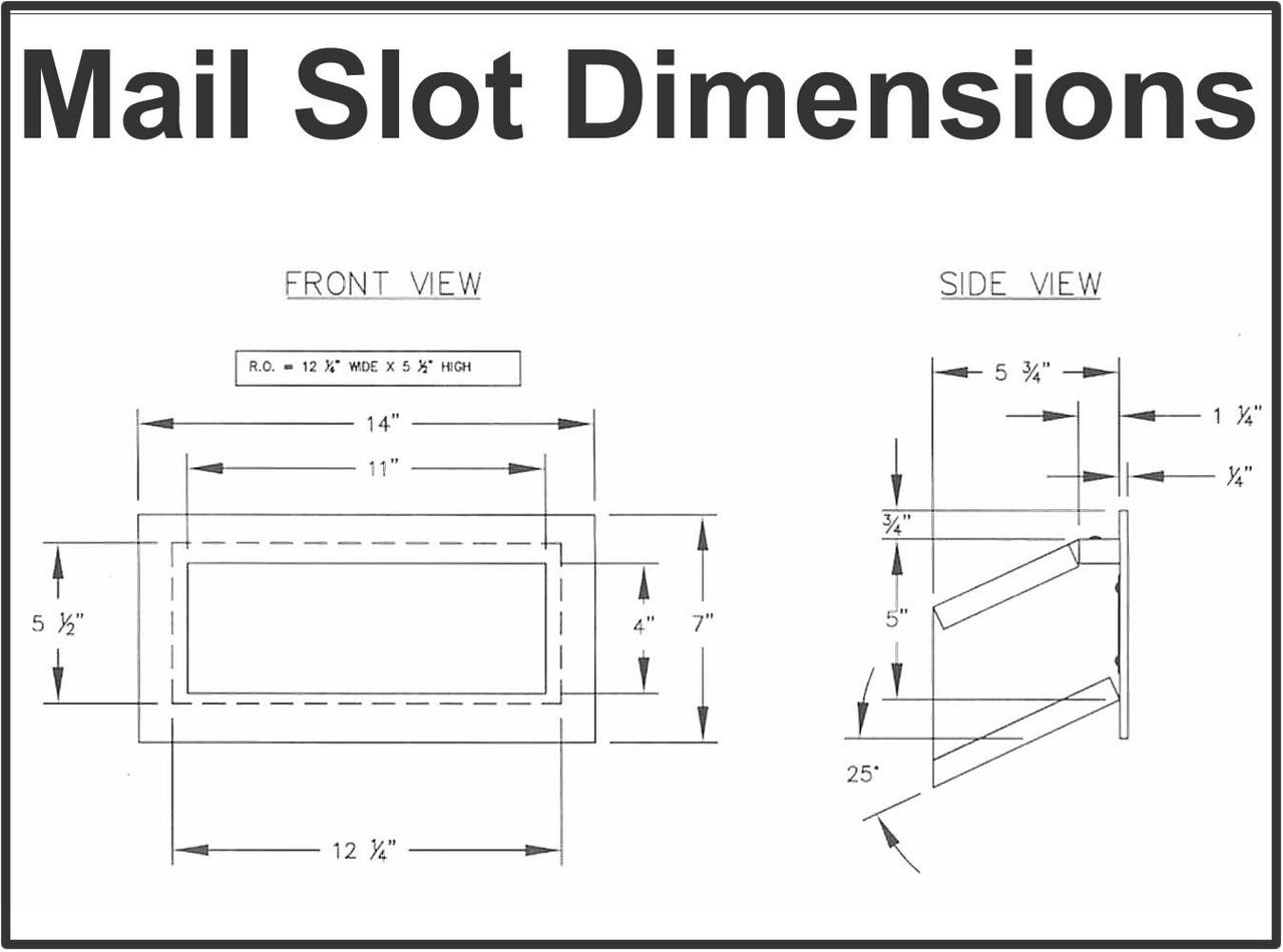 Wall Mail Drop Slot S2255 dimensions