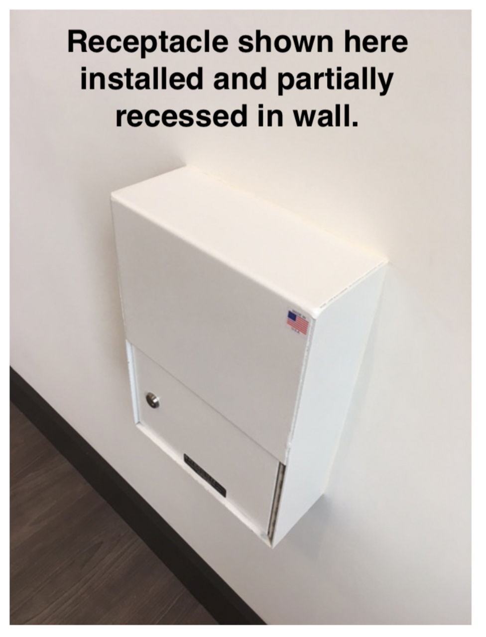 PVNDPRO903 receptacle shown installed recessed in wall