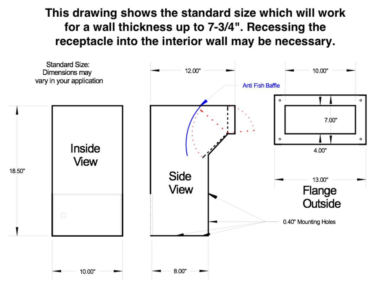 Line Drawing PVNDPRO903 for 4 to 7 inch walls