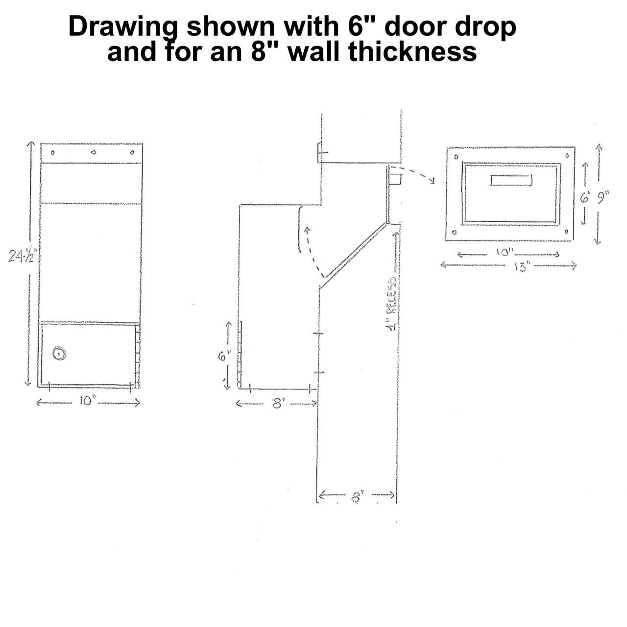 Custom High Security Through the Wall Deposit Drop Box with Hopper Drop Door