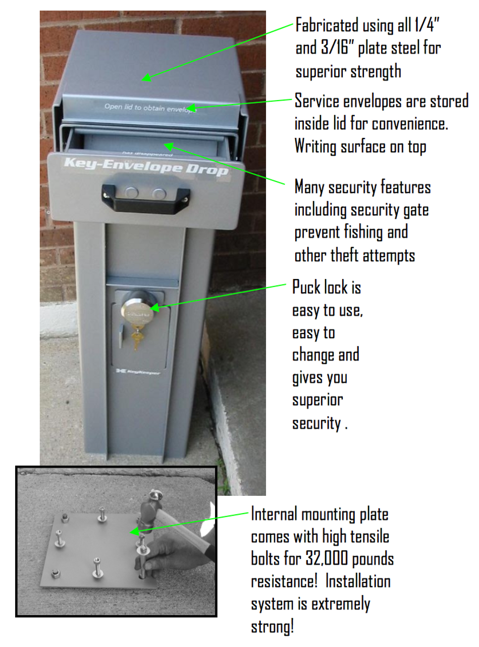 Free Standing High Security Key or Payment Drop Box call outs