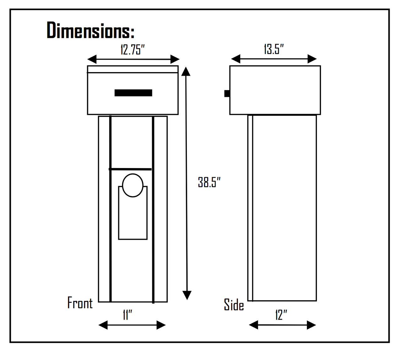 Free Standing High Security Key or Payment Drop Box dimensions