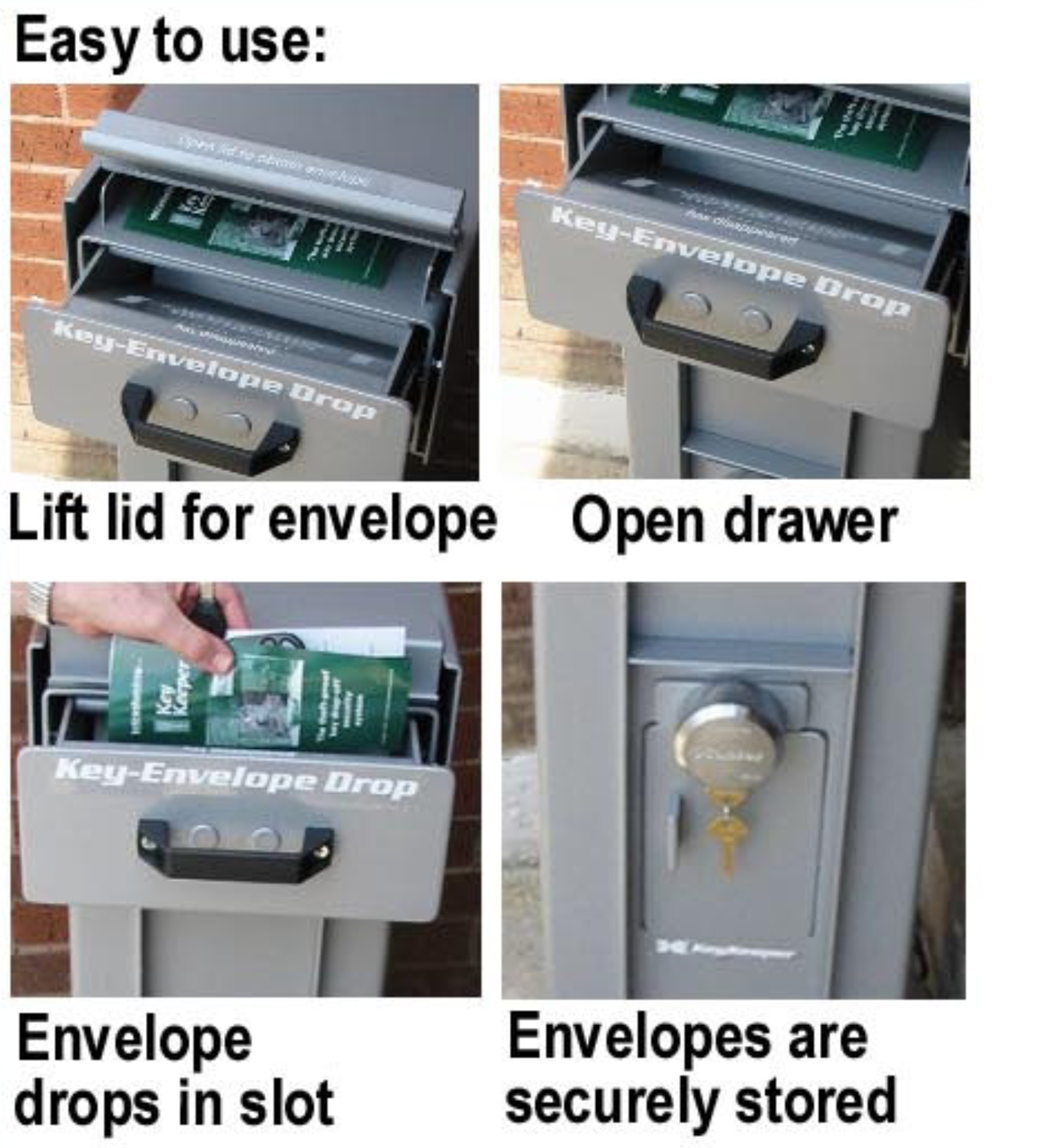 Free Standing High Security Key or Payment Drop Box easy to use