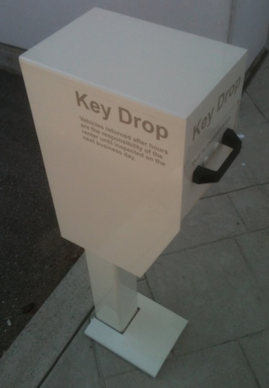 Secure Key Drop Box with Post side view