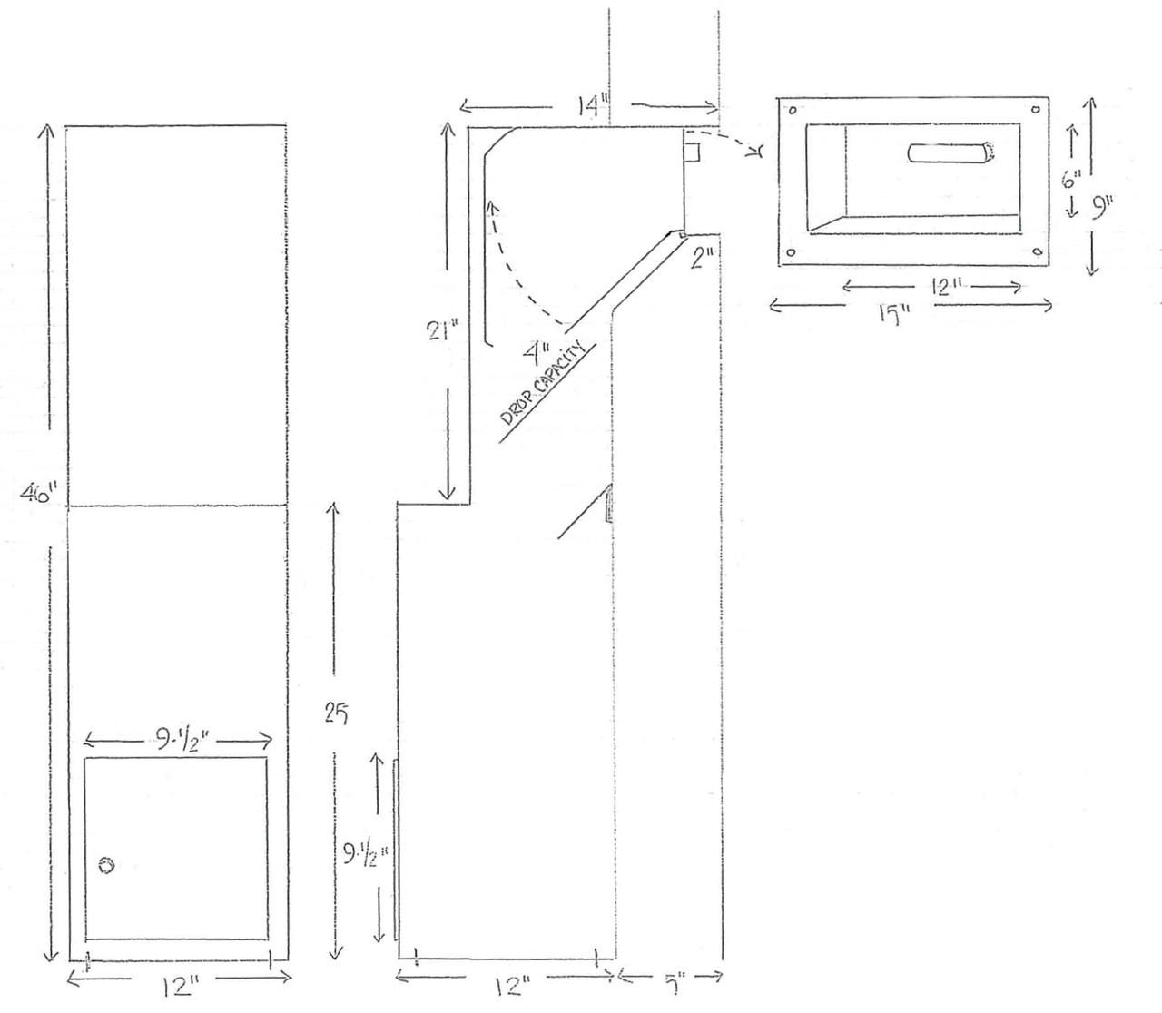 Floor Mounted High Security Through the Wall Custom Deposit Drop Box with Hopper Drop Door Diagram