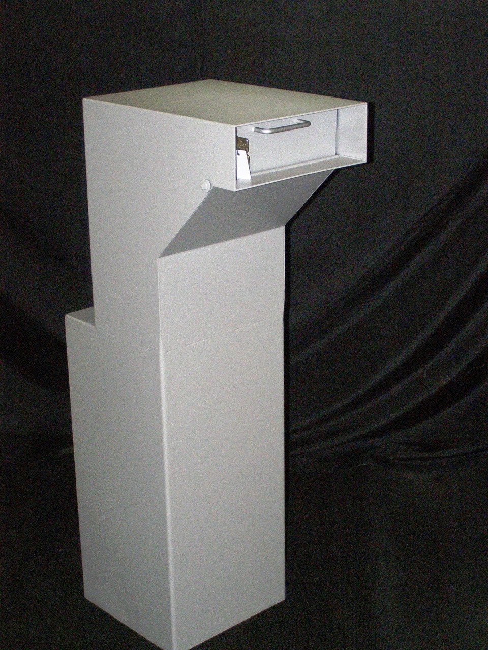 Floor Mounted High Security Through the Wall Custom Deposit Drop Box with Hopper Drop Door black back ground