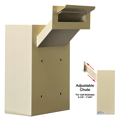 Adjustable Through the Wall Locking Drop Box with side view