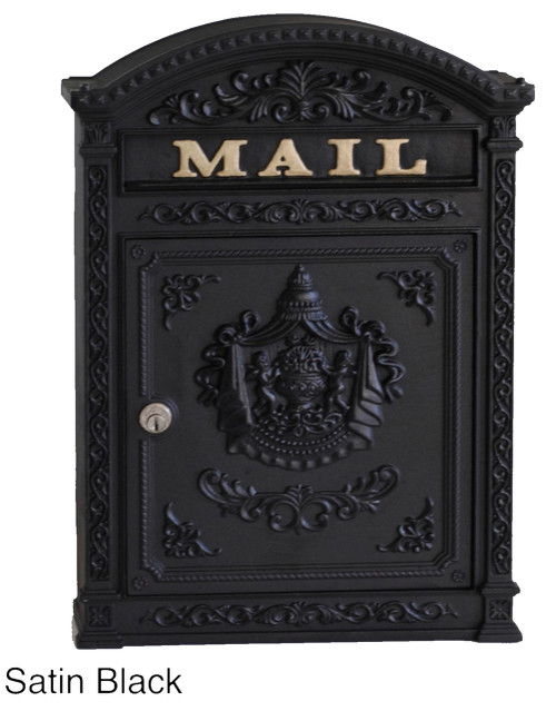 Victorian Wall Mounted Letter Mailbox Black