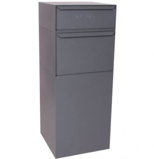 Gray Extra Large Mailbox for Packages with Separate US Mail Receptacle