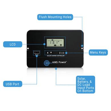 Flush Mount 10 Amp Charge Controller PWM 12/24V