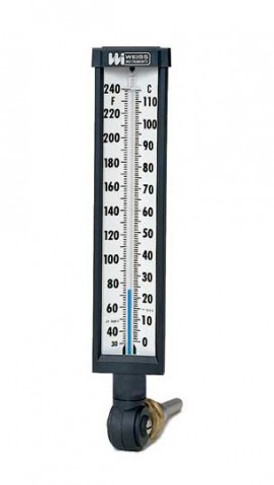 """1/2"""" NPT Angled Thermometer"""
