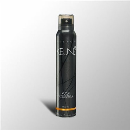 DESIGN ROOT VOLUMIZER   For maximum lift, rich volume and manageability of fine hair. Keune Root Volumizer is a lightweight gel mousse that creates lift at the base of your hair and provides heat protection during blow drying. Heat activated volume.   Hold factor: 7   Shine factor: 5