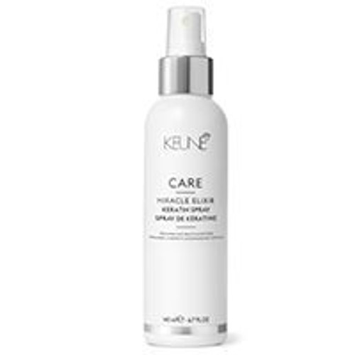 CARE MIRACLE ELIXIR KERATIN SPRAY The luxurious keratin-based home treatment spray prolongs the results of the professional Miracle Elixir treatment. It helps to maintain the initial level of softness the treatment gives, even after 5 shampoos.  Keratin rebuilds, repairs and protects hair structure. Quats improve combability. Coconut oil moisturizes hair from the inside out.