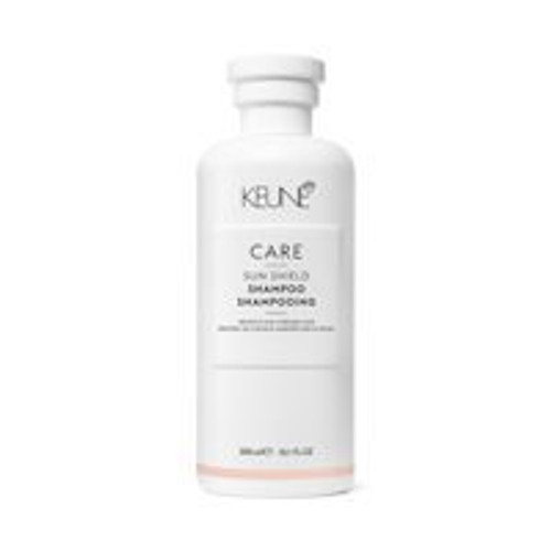 CARE SUN SHIELD SHAMPOO This shampoo is enriched with essential minerals, provitamin B5 and the unique Anti-Chlorine Complex. It mildly cleanses the hair, removing traces of sunscreen, chlorine and salt water, while gently moisturizing each individual strand. The result: supremely silky, shiny hair that's easy to detangle and style.