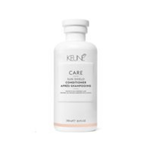 CARE SUN SHIELD CONDITIONER This shampoo is enriched with essential minerals, provitamin B5 and the unique Anti-Chlorine Complex. It mildly cleanses the hair, removing traces of sunscreen, chlorine and salt water, while gently moisturizing each individual strand. The result: supremely silky, shiny hair that's easy to detangle and style.