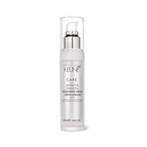 CARE KERATIN SMOOTH SMOOTHING SERUM A caring serum infused with active keratin, argan oil and essential minerals. Contains active keratin, argan oil and essential minerals. Smoothes and strengthens frizzy hair and protects against damage from heat styling.