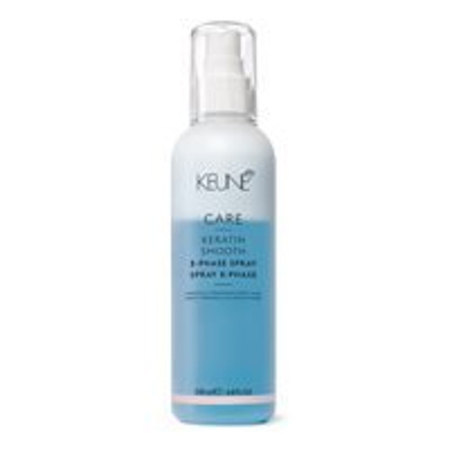CARE KERATIN SMOOTH 2-PHASE SPRAY This instant conditioning and detangling spray is enriched with keratin and silsoft, that work to regulate the moisture balance while strengthening and smoothing the hair. The low pH level soothes the cuticle and enhances the hair's shine without weighing it down.