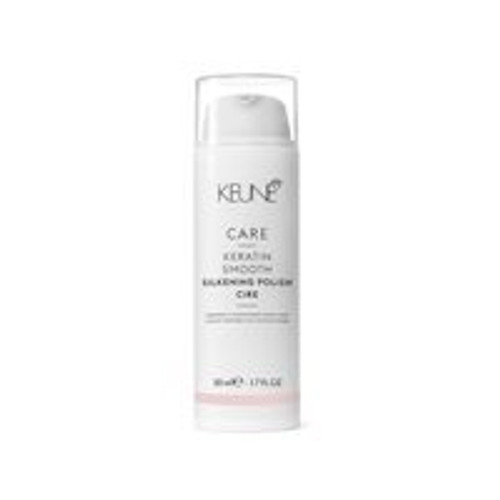 CARE KERATIN SMOOTH SILKENING POLISH This silky cream fights frizz, ensuring clean definition and a super shiny finish.