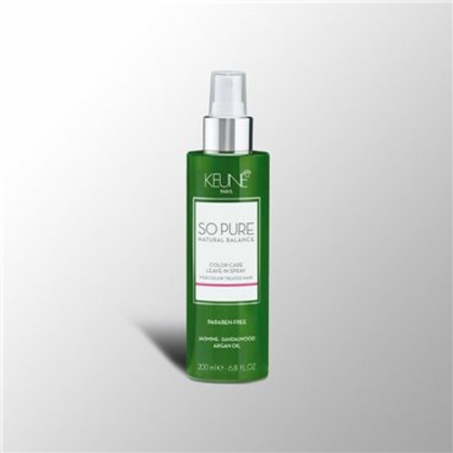 SO PURE COLOR CARE LEAVE-IN SPRAY Leave- in spray for color treated hair. Detangles, conditiones and protects the hair from UV rays. Guarantees longer lasting color, managebility and radiant shine.