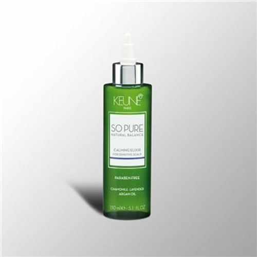 SO PURE CALMING ELIXIR Intensive leave-in treatment for sensitive and irritated scalp. The elixir is an intensive treatment to rebalancing the scalp, mind and spirit. Gives the hair volume and is conditioning.