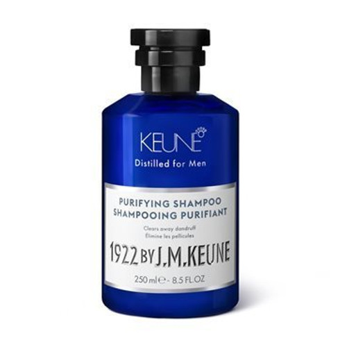 1922 BY J.M. KEUNE PURIFYING SHAMPOO  This mild shampoo calms the scalp and removes visible dandruff. Zinc pyrithione slows down the malassezia type fungus, which causes dandruff. Contains creatine and hemp. Follow up with the conditioner of your choice.