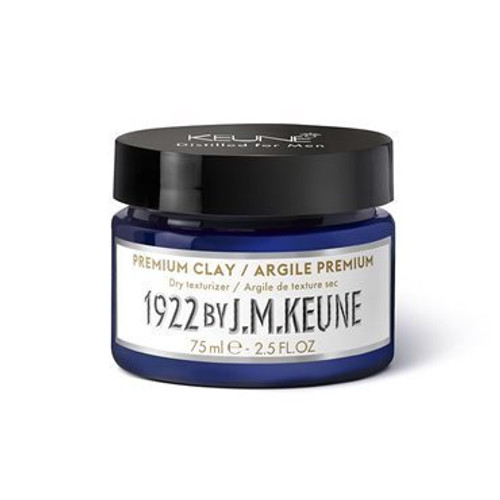 1922 BY J.M. KEUNE PREMIUM CLAY  Dry styling clay with a strong hold and matte finish. Use to texturize and define medium to short hair. Contains creatine and hemp. Hold: 7/10, shine: 2/10.