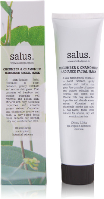 A skin-firming facial treatment to boost radiance, gently exfoliate and restore skin glow. Fine granules of bamboo and pumice stimulate cell renewal and soften skin. Mineral rich clay detoxifies impurities and absorbs excess sebum. Cucumber and chamomile soothe and calm. A clay-based facial mask suitable for normal, oily or combination skin.