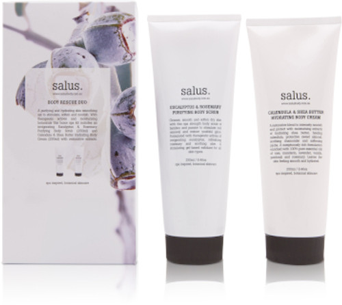 A purifying and hydrating skin smoothing set to stimulate, soften and nourish. With therapeutic actives and moisturising botanicals this home spa kit includes an invigorating Eucalyptus & Rosemary Purifying Body Scrub (250ml) and Calendula & Shea Butter Hydrating Body Cream (250ml) with restorative extracts.
