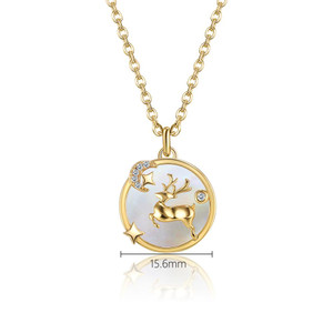 Flying Reindeer Necklace in 18K Gold Plated Holiday Gift For Women