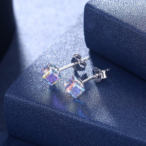 Sterling Silver Earring Studs with Swarovski Crystals