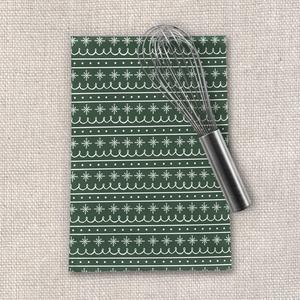 Green Snowflake Pattern Tea Towel