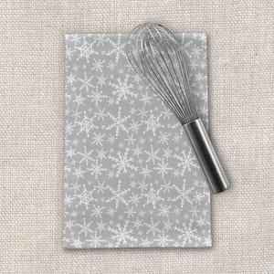 Gray Snowflakes Tea Towel