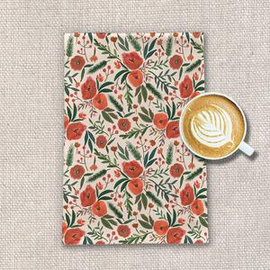 Christmas Floral Tea Towel