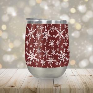 Red Snowflakes Stemless 12 oz Wine Tumbler