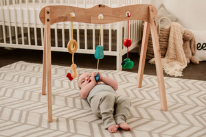 WOODEN SOLID FRAME BABY GYM WITH EYE CATCHING TOYS