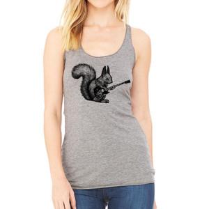 Squirrel Playing Guitar Racerback Women T-shirt