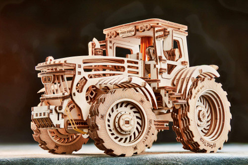 Natural Solid Wooden 3D Tractor