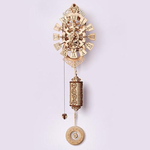 Natural Solid Wooden 3D Pendulum Clock