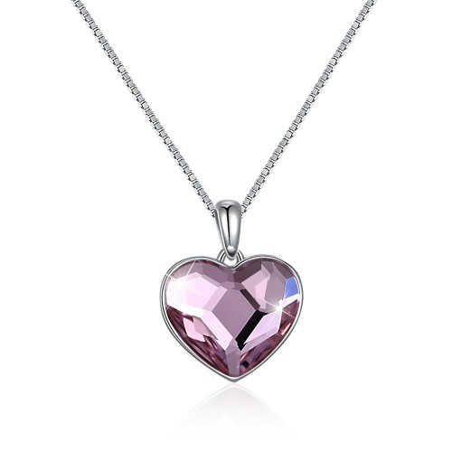 Classic Heart Sterling Silver Necklace with Swarovski Crystals