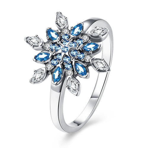 Sterling Silver Snowflake Ring Blue