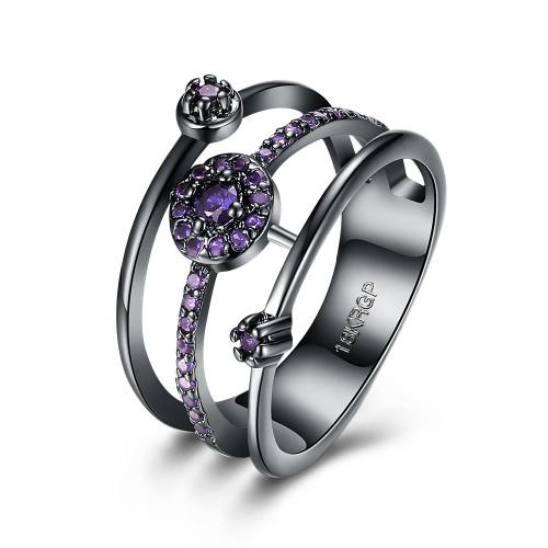 Purple Swarovski Elements Multi-Circular Layering Black Rhodium