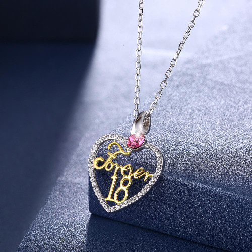 Forever 18 Sterling Silver Necklace with Swarovski Crystals