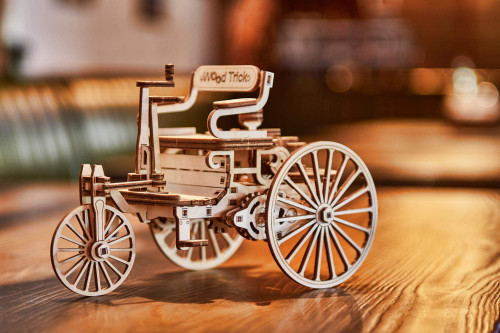 Natural Solid Wooden 3D First Car