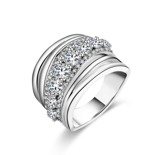18K White Gold Plated Fortunata Cocktail Ring made with Swarovski