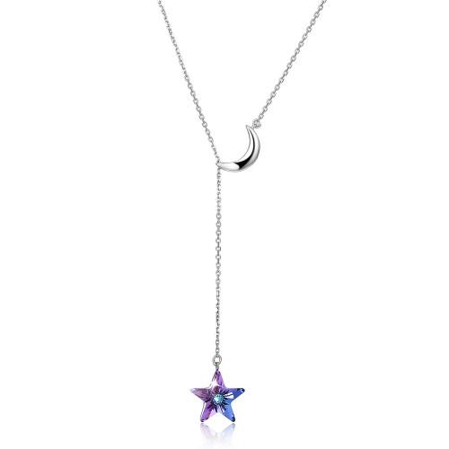Aurora Borealis Crystal Sterling Silver Necklace with Swarovski