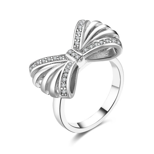 18K White Gold Plated Gloria Bow Ring made with Swarovski Crystals