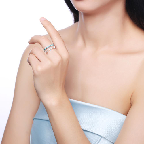 Blue Topaz Sterling Silver Ring For Women